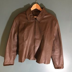 Forenza vintage brown leather jacket coat large